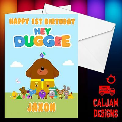 HEY DUGGEE PERSONALISED BIRTHDAY CARD AGE ANY NAME RELATION