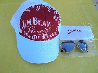 New Jim Beam Cap Red & White With Adjustable Head Band & Jim Beam Sun Glasses