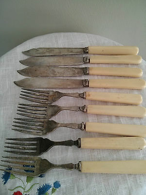 Antique set of 9 knives and forks Silverplate EPNS Sheffield England, circa 1900