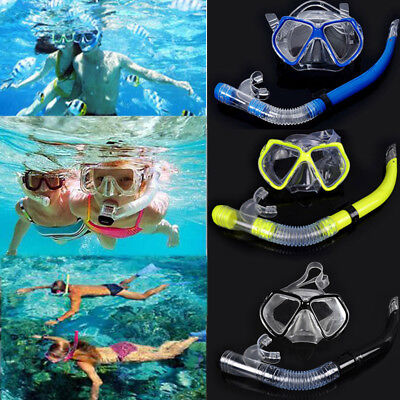 Adult PVC Glass Diving Swimming Scuba Goggles Mask and Snorkel Sets 3 colors