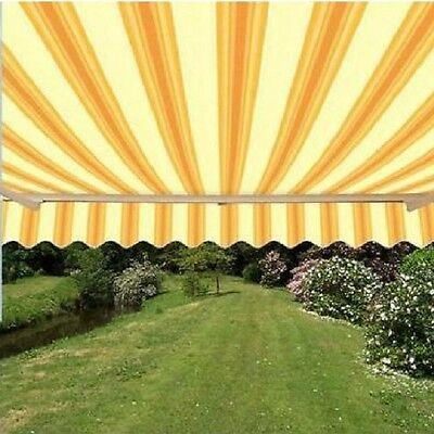 ALEKO Retractable Patio Awning 10 X 8 Ft Deck Sunshade Multistripe Yellow  Color