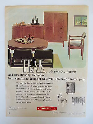 Vintage advertising original 1960s Australian ad CHISWELL MID CENTURY FURNITURE