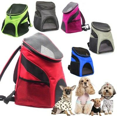 Portable Outdoor Cat Dog Pet Double Shoulder Mesh Bag Backpack Travel Carrier UK