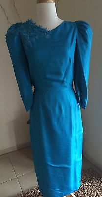 Vintage 80s prom bridesmaid HENS dress COCKTAIL dynasty Dramatic puffy shoulders