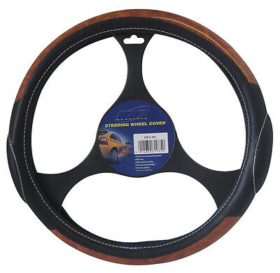 Real black leather & real wood effect steering wheel cover ideal vintage look