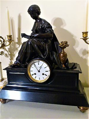 Antique French Figural Mantel Clock by C. Detouche.