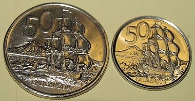 1973 and 2006 world coin New Zealand 2 x 50c