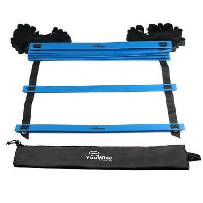 (Blue) - YouWise Flat Adjustable Speed Agility Training Ladder Drills for All Sp