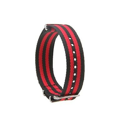 (20mm, red-black(5 colors) A) - Possbay Unisex Men Women Nylon Watchband Watch S