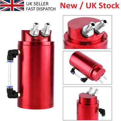 Universal Aluminium Round Oil Catch Tank Breather Can 10&15Mm Fittings Uk Seller