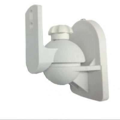 2x Surround Adjustable Speaker Wall Mount Tilt Swivel Bracket Support White