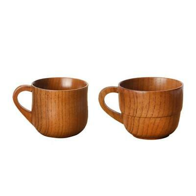 2pcs Wooden Mug Beer Cup Wedding Favor Natural Wood Fashion Mug 11.5cm Brown
