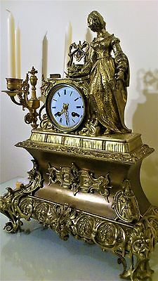 Antique French Solid Bronze Ormolu Royal Figural Mantel Clock