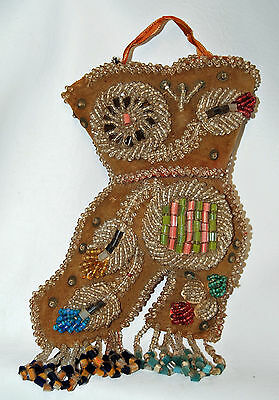 Antique Glass Beaded Hanging Wall Pocket Pin Cushion Shoe Boot
