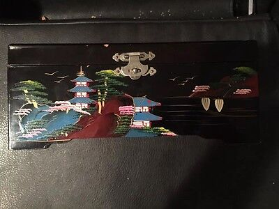 Vintage Asian Jewelry Box Black