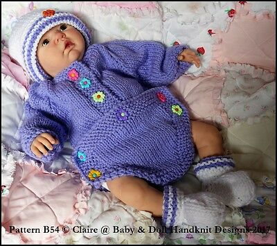 "Babydoll Handknit Designs Button Front Romper Set 20-22"" Doll, Approx Size 0-3M+"