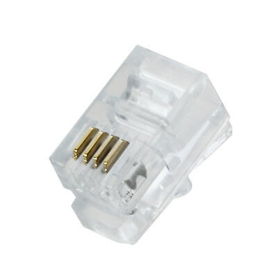 Clear plastic 30 pcs 4P4C connector RJ9 phone adapter