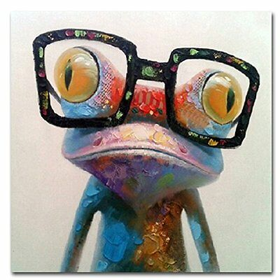 Framed Glasses Frog Oil Painting Hand Paint Canvas Art Picture Wall Home Decor