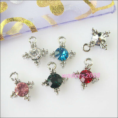 5 New Charms Cross Mixed Crystal Pendants for DIY Crafts 13x16mm