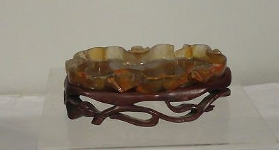 Antique Chinese Carved Hardstone Agate Brushwasher Coupe Stand Lotus As Is