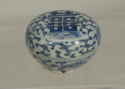 Antique Underglaze Blue and White Chinese Covered Seal Paste Cosmetic Box