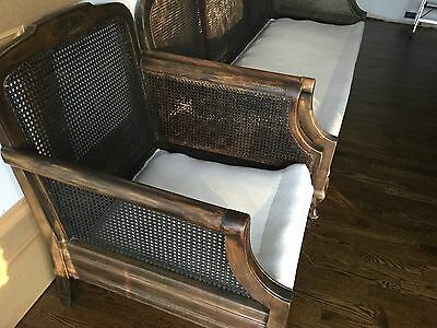 Antique Hand-Carved Cane Chair And Settee
