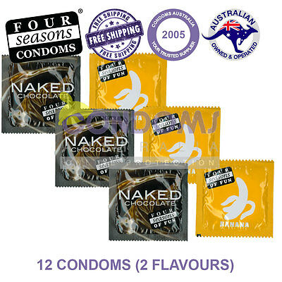 Four Seasons Flavoured Chocolate & Banana 12 Condoms Hens Bucks Party Gift
