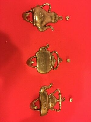 Vintage Traditional Solid Brass Hat & Coat Hooks Set Of Three Italy
