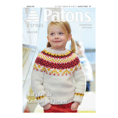 Vat Free Knitting Pattern Only Patons Kids Fairisle Cardigan