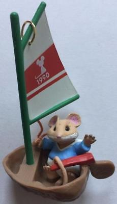 1990 Mouseboat Hallmark Ornament Mouse In a Nutshell Boat Sailing