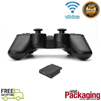 1X 2X For P2 Black Wireless Twin Shock Game Controller 2.4GHz Gamepad