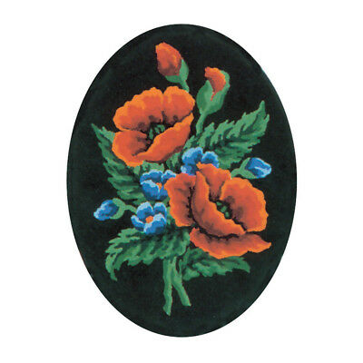 COLLECTION D'ART | Printed Canvas: Poppies on Black Oval |CD7015