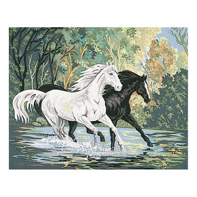 COLLECTION D'ART | Printed Canvas: Crossing The River Horses |CD12959