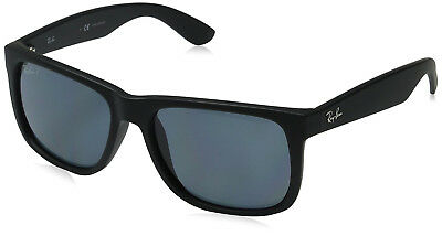 Ray-Ban Justin Men's 0RB4165 Polarized Square Sunglasses, Black Rubber, 55mm