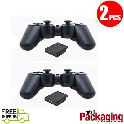 2Pcs New Black Wireless Game Controllers 2.4GHz RF For PS2 PS1 PSX