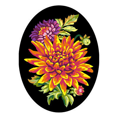 COLLECTION D'ART | Printed Canvas: Flowers with Black Background A |CD7025