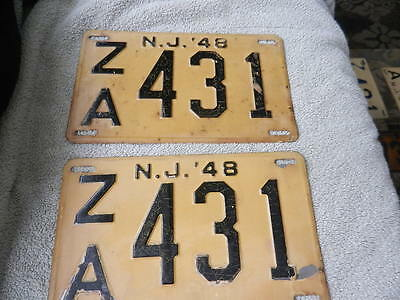 Pair Antique 1948 License Plates Black Steel New Jersey NJ Matching Low Number & PAIR OF MATCHING Vintage New Jersey NJ Garden State Black Yellow ...