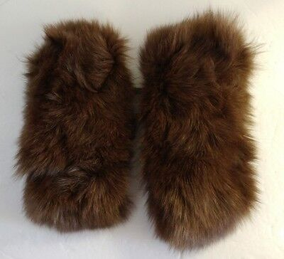 Vintage Real Fur Cuffs to sew on Jackets Coats Apparel Brown unknown animal VGC