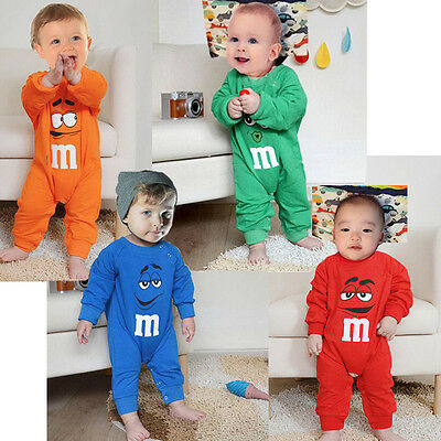 New Baby Boys Girls Cartoon Bodysuit Baby Infant Long Sleeve Romper Clothes Set