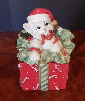 Fitz and Floyd Christmas Kitty Kringle Trinket Box