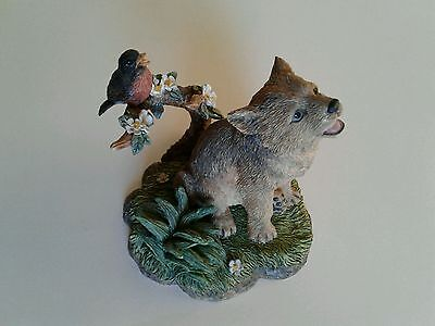 "Wolf Pup & Robin ""First Recital"" Figurine  1996 The Hamilton Collection"