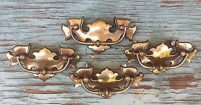 "Set 4 Vintage Keeler Brass Chippendale Drawer Pulls Handles (1) 5"" & (3) 4 1/2"""