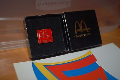 McDonald's 3 Three Years Red Pride Service Pin Back Lapel Cap Hat Vest  CIB