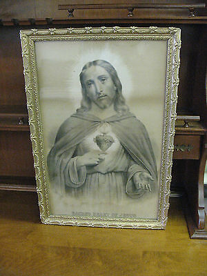 Sacred  Heart  Of  Jesus  Antique  Print  Orig.  Frame  And    Glass