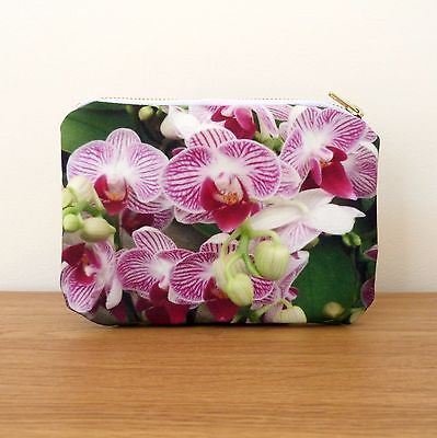 Make up Bag Purse Cosmetics Gifts Brass White Zipper Flower Floral Orchids