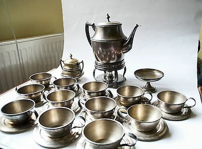 Anituqe Teapot Set, Silver Plated Brass 19th century
