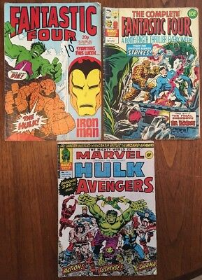 "3 x Vintage Marvel ""Fantastic Four"" & ""The Avengers"" Comic Books 1976-1982"