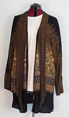 stunning vintage carole little long jacket size 12 black brown beads scarf