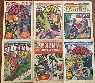 "6 x Vintage Marvel ""Spiderman"" and ""The Incredible Hulk"" Comic Books 1973-1980"