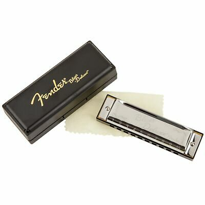 New Fender Blues Deluxe Harmonica w/ Vented Plastic Case, Key of C + Ships Free
